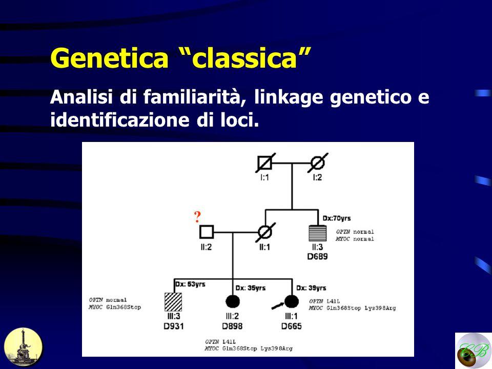 Genetica classica Analisi di familiarità, linkage genetico e identificazione di loci. ?
