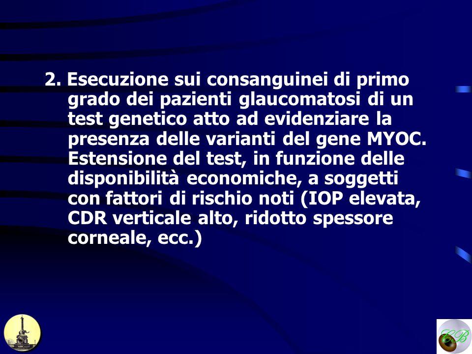 2. Esecuzione sui consanguinei di primo grado dei pazienti glaucomatosi di un test genetico atto ad evidenziare la presenza delle varianti del gene MY