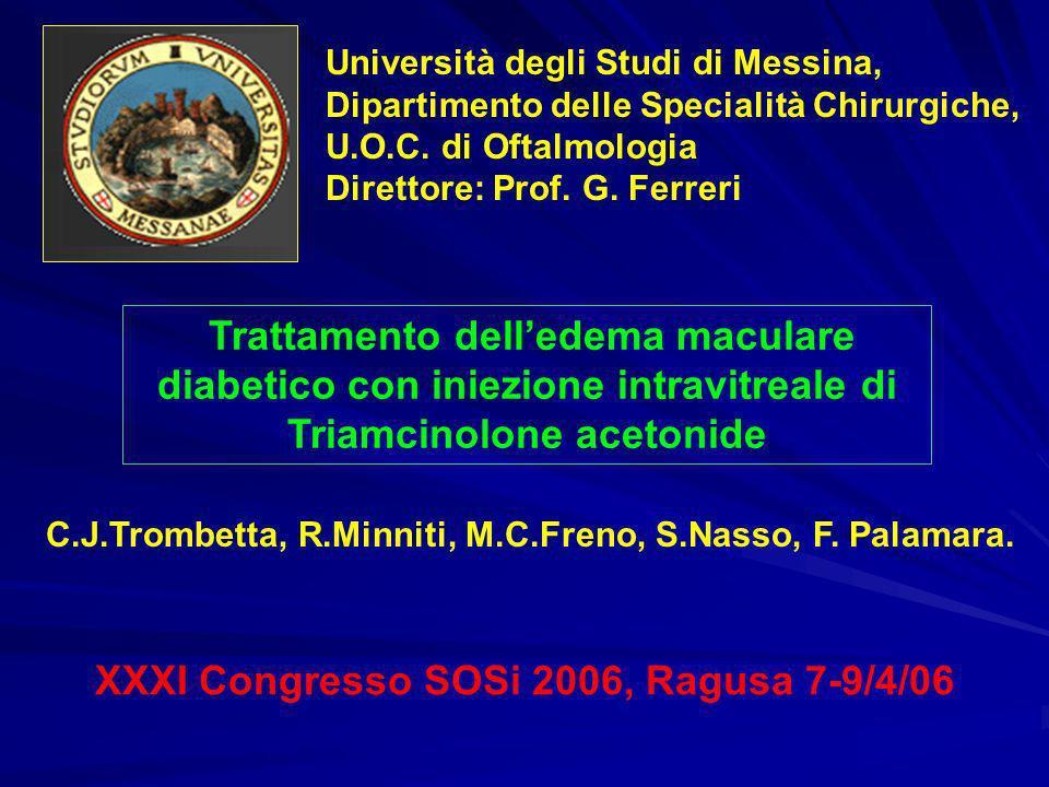 Trattamento delledema maculare diabetico con iniezione intravitreale di Triamcinolone acetonide XXXI Congresso SOSi 2006, Ragusa 7-9/4/06 Università d