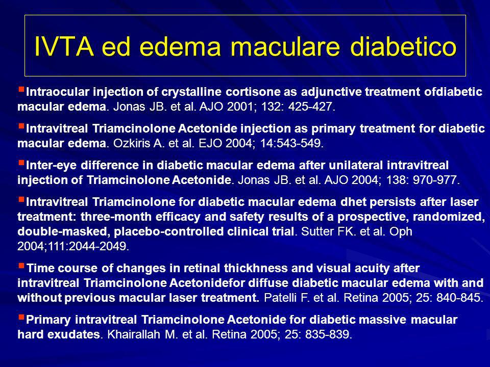 IVTA ed edema maculare diabetico Intraocular injection of crystalline cortisone as adjunctive treatment ofdiabetic macular edema. Jonas JB. et al. AJO