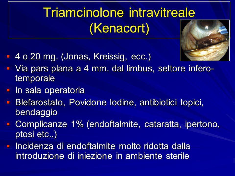 Triamcinolone intravitreale (Kenacort) 4 o 20 mg. (Jonas, Kreissig, ecc.) 4 o 20 mg. (Jonas, Kreissig, ecc.) Via pars plana a 4 mm. dal limbus, settor