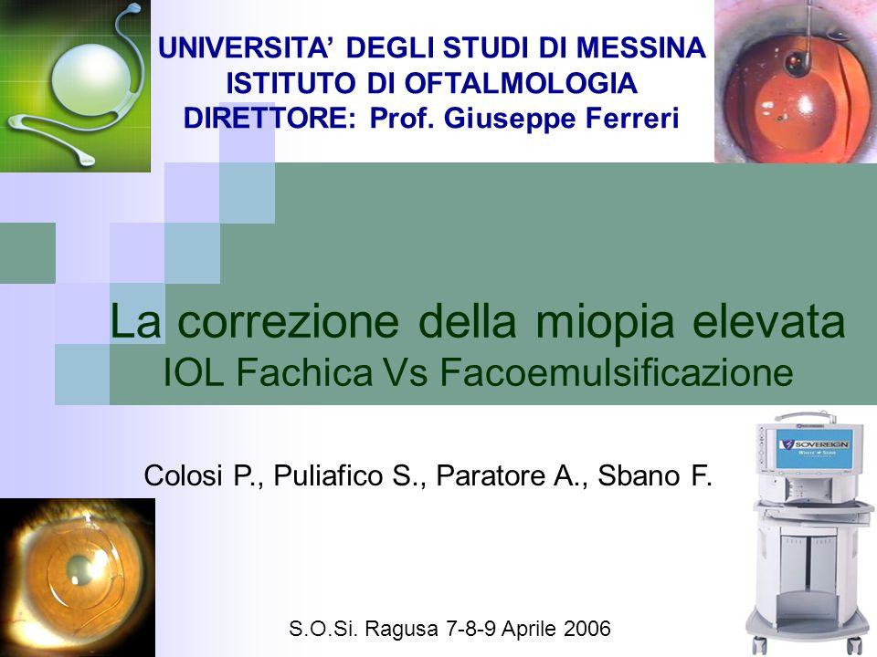 La correzione della miopia elevata IOL Fachica Vs Facoemulsificazione UNIVERSITA DEGLI STUDI DI MESSINA ISTITUTO DI OFTALMOLOGIA DIRETTORE: Prof. Gius