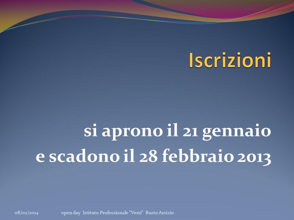 si aprono il 21 gennaio e scadono il 28 febbraio 2013 08/02/2014open day Istituto Professionale Verri Busto Arsizio