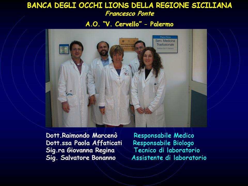 Dott.Raimondo Marcenò Responsabile Medico Dott.ssa Paola Affaticati Responsabile Biologo Sig.ra Giovanna Regina Tecnico di laboratorio Sig. Salvatore
