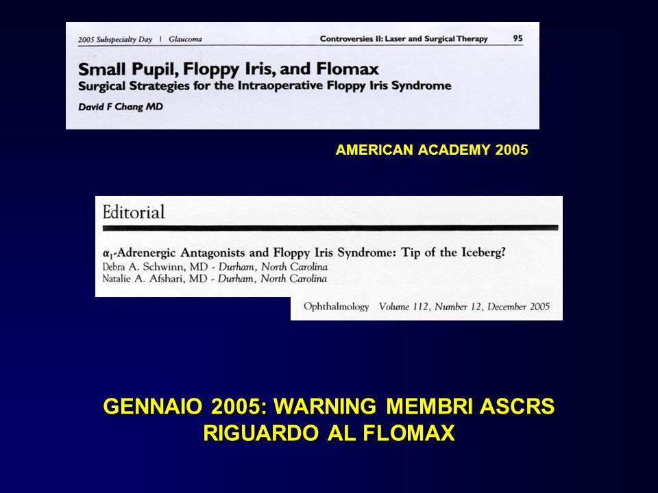 GENNAIO 2005: WARNING MEMBRI ASCRS RIGUARDO AL FLOMAX AMERICAN ACADEMY 2005