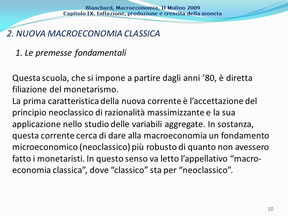 Blanchard, Macroeconomia, Il Mulino 2009 Capitolo IX. Inflazione, produzione e crescita della moneta 2. NUOVA MACROECONOMIA CLASSICA 10 1. Le premesse
