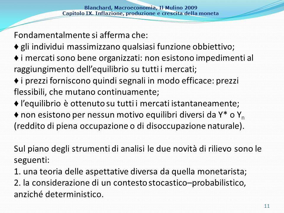 Blanchard, Macroeconomia, Il Mulino 2009 Capitolo IX. Inflazione, produzione e crescita della moneta 11 Fondamentalmente si afferma che: gli individui