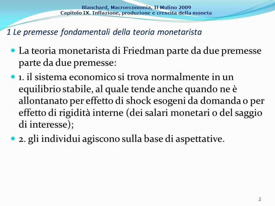 Blanchard, Macroeconomia, Il Mulino 2009 Capitolo IX. Inflazione, produzione e crescita della moneta 1 Le premesse fondamentali della teoria monetaris