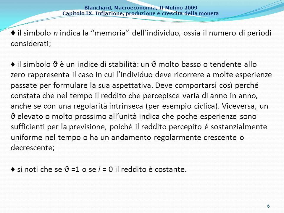 Blanchard, Macroeconomia, Il Mulino 2009 Capitolo IX. Inflazione, produzione e crescita della moneta 6 il simbolo n indica la memoria dellindividuo, o