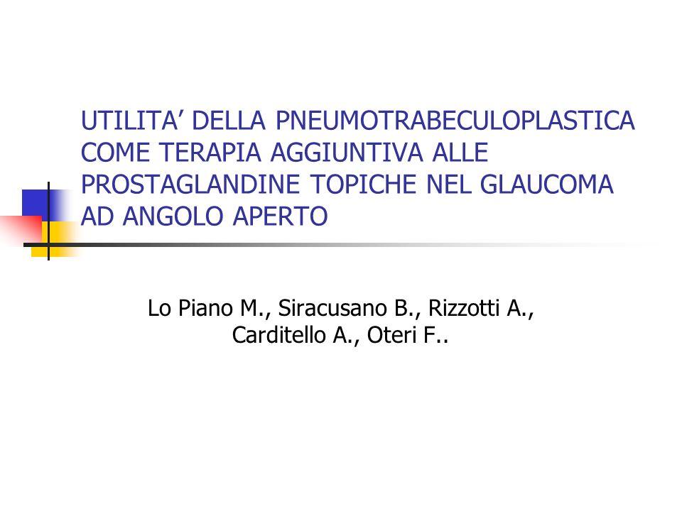 UTILITA DELLA PNEUMOTRABECULOPLASTICA COME TERAPIA AGGIUNTIVA ALLE PROSTAGLANDINE TOPICHE NEL GLAUCOMA AD ANGOLO APERTO Lo Piano M., Siracusano B., Ri