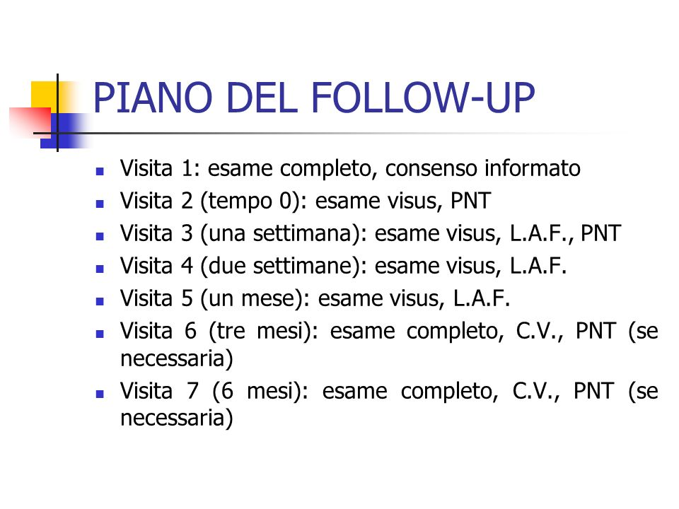 PIANO DEL FOLLOW-UP Visita 1: esame completo, consenso informato Visita 2 (tempo 0): esame visus, PNT Visita 3 (una settimana): esame visus, L.A.F., P