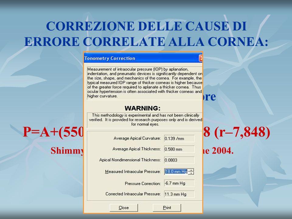 CORREZIONE DELLE CAUSE DI ERRORE CORRELATE ALLA CORNEA: CurvaturaSpessore P=A+(550–T)/18.1e -0,0122A +0,8 (r–7,848) Shimmyo M : Am J Ophthalmol, June