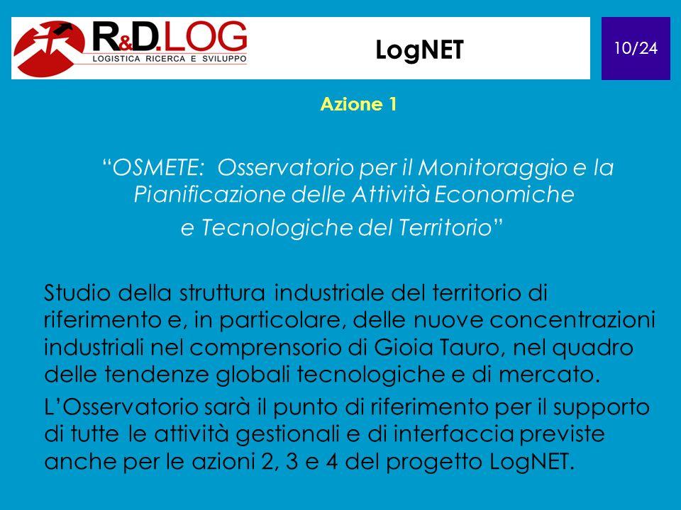 10/24 LogNET Azione 1 OSMETE: Osservatorio per il Monitoraggio e la Pianificazione delle Attività Economiche e Tecnologiche del Territorio Studio dell