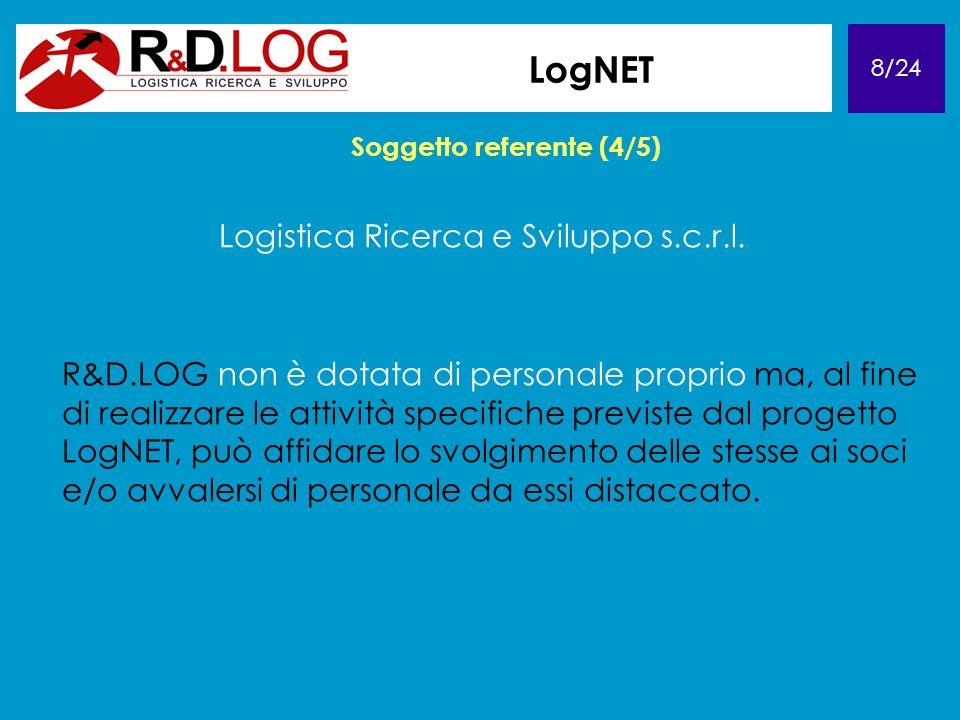 8/24 LogNET Soggetto referente (4/5) Logistica Ricerca e Sviluppo s.c.r.l. R&D.LOG non è dotata di personale proprio ma, al fine di realizzare le atti