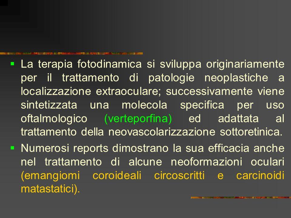 La terapia fotodinamica si sviluppa originariamente per il trattamento di patologie neoplastiche a localizzazione extraoculare; successivamente viene