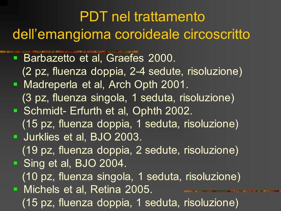 PDT nel trattamento dellemangioma coroideale circoscritto Barbazetto et al, Graefes 2000. (2 pz, fluenza doppia, 2-4 sedute, risoluzione) Madreperla e
