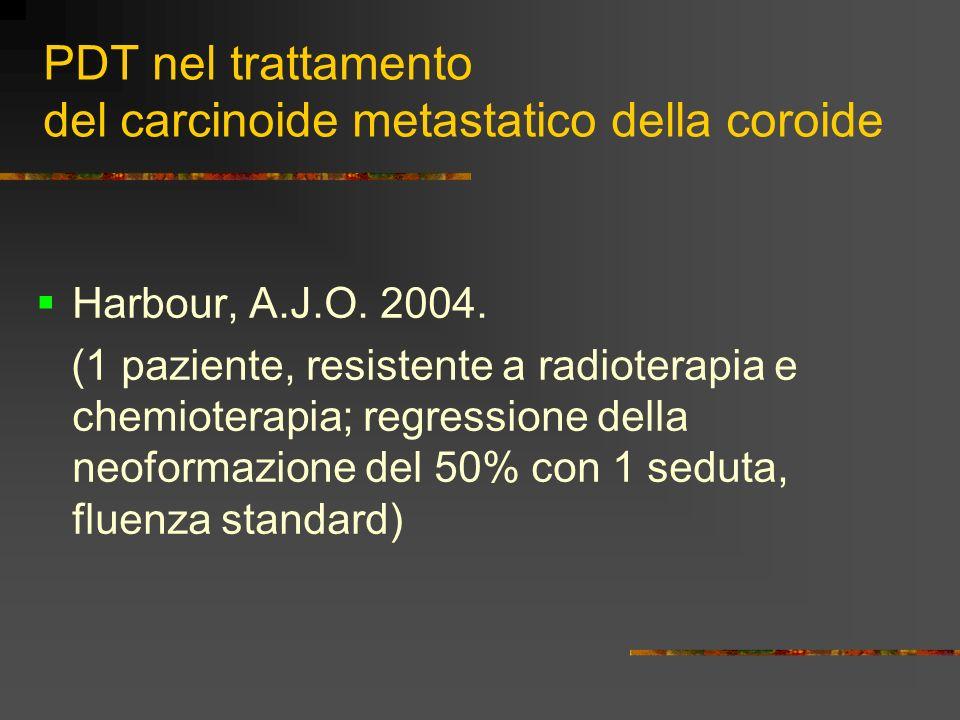 Caso 2 Sesso femminile, anni 34 Affetta da carcinoide bronchiale a basso grado di malignità, con metastasi coroideali bilaterali (polmonari, mediastiniche) Precedentemente sottoposta a irradiazione con protoni in OS e crio + laser in OD AV OD 1 OS m.m.