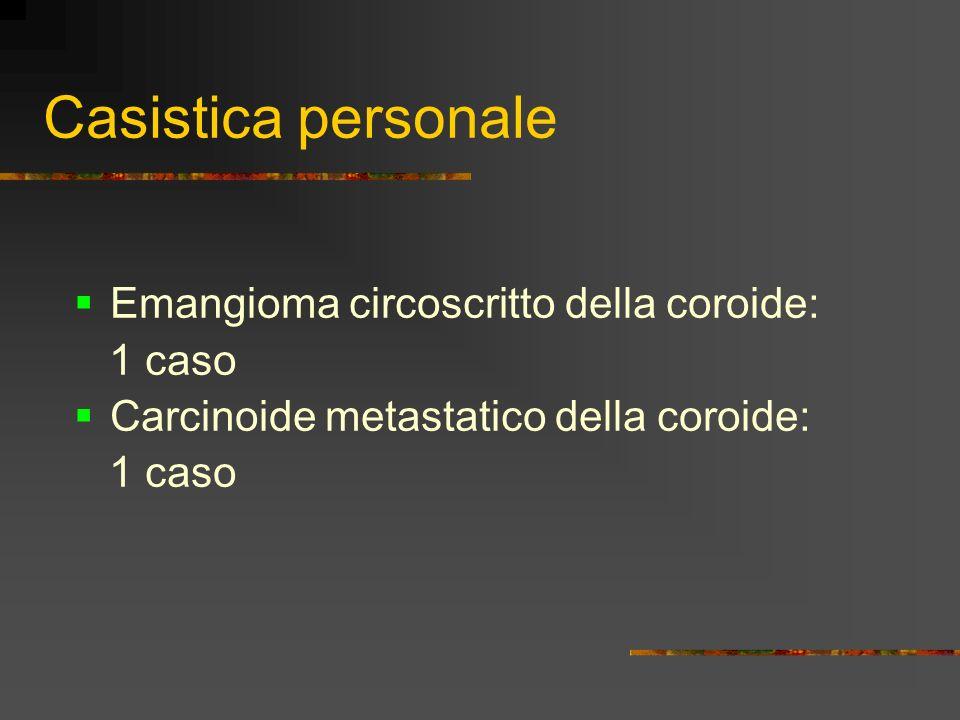 Casistica personale Emangioma circoscritto della coroide: 1 caso Carcinoide metastatico della coroide: 1 caso