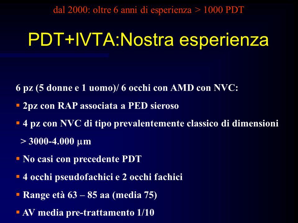 dal 2000: oltre 6 anni di esperienza > 1000 PDT PDT+IVTA:Nostra esperienza 6 pz (5 donne e 1 uomo)/ 6 occhi con AMD con NVC: 2pz con RAP associata a P
