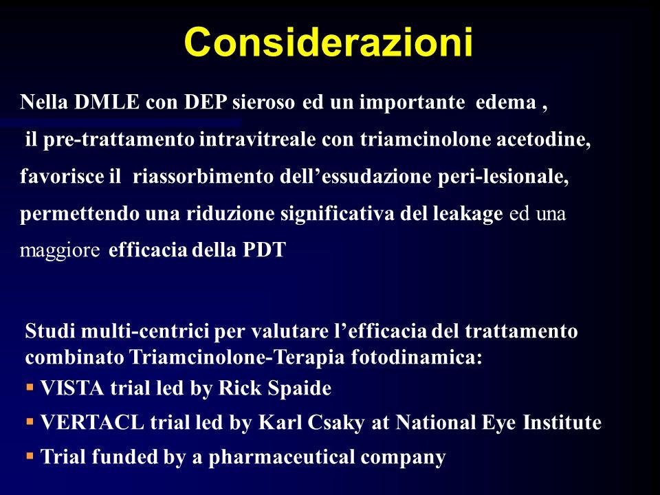 Considerazioni Nella DMLE con DEP sieroso ed un importante edema, il pre-trattamento intravitreale con triamcinolone acetodine, favorisce il riassorbi