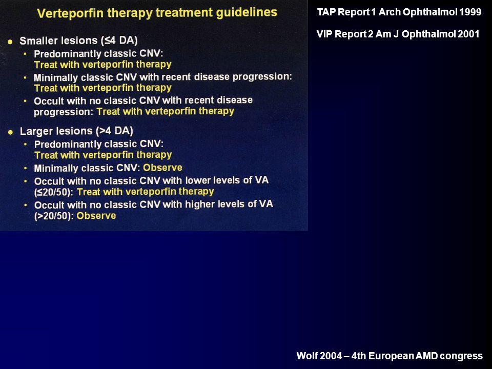 Wolf 2004 – 4th European AMD congress TAP Report 1 Arch Ophthalmol 1999 VIP Report 2 Am J Ophthalmol 2001