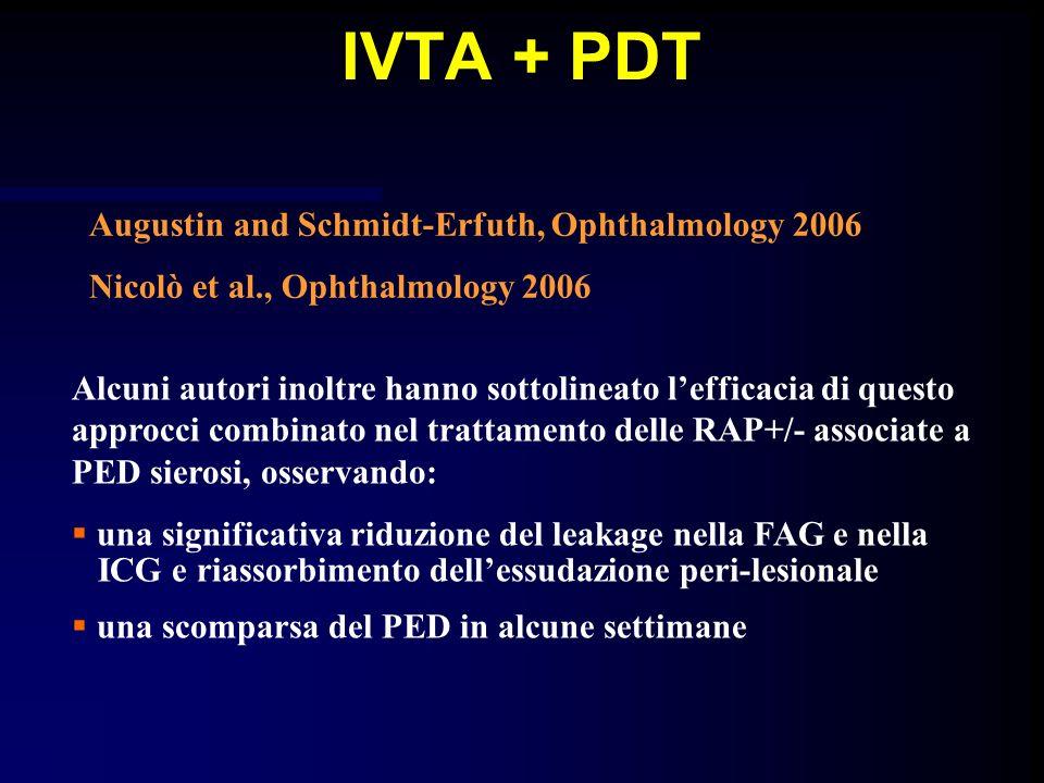 Alcuni autori inoltre hanno sottolineato lefficacia di questo approcci combinato nel trattamento delle RAP+/- associate a PED sierosi, osservando: una