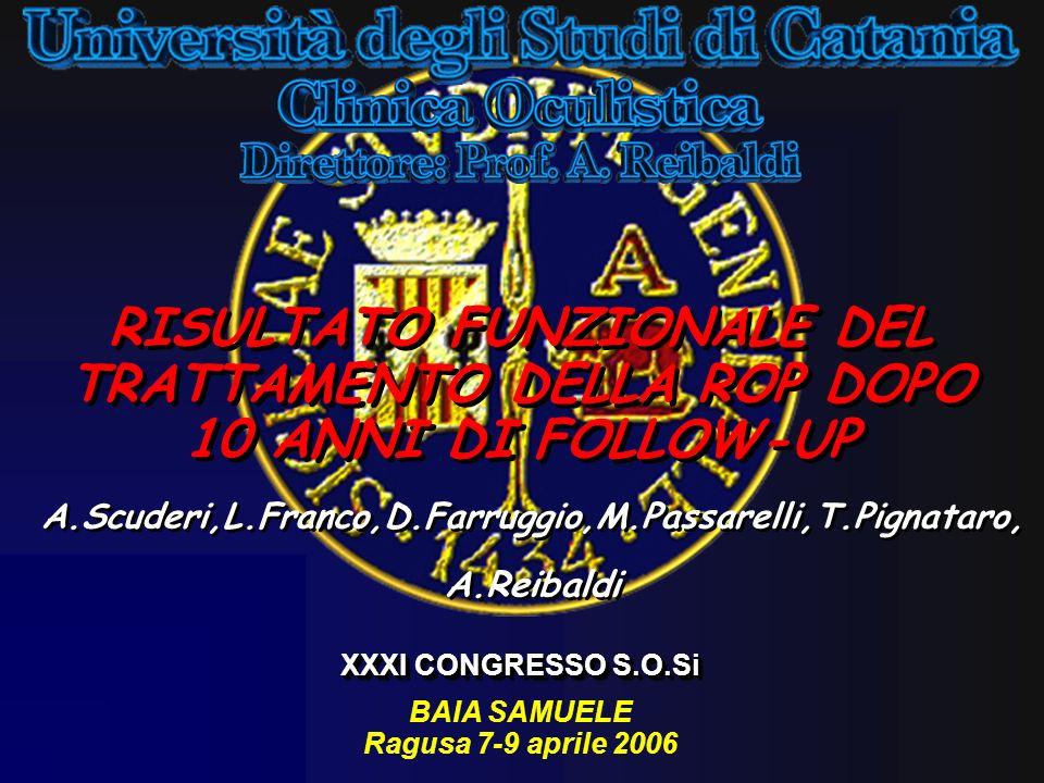 RISULTATO FUNZIONALE DEL TRATTAMENTO DELLA ROP DOPO 10 ANNI DI FOLLOW-UP A.Scuderi,L.Franco,D.Farruggio,M.Passarelli,T.Pignataro, A.Reibaldi A.Scuderi