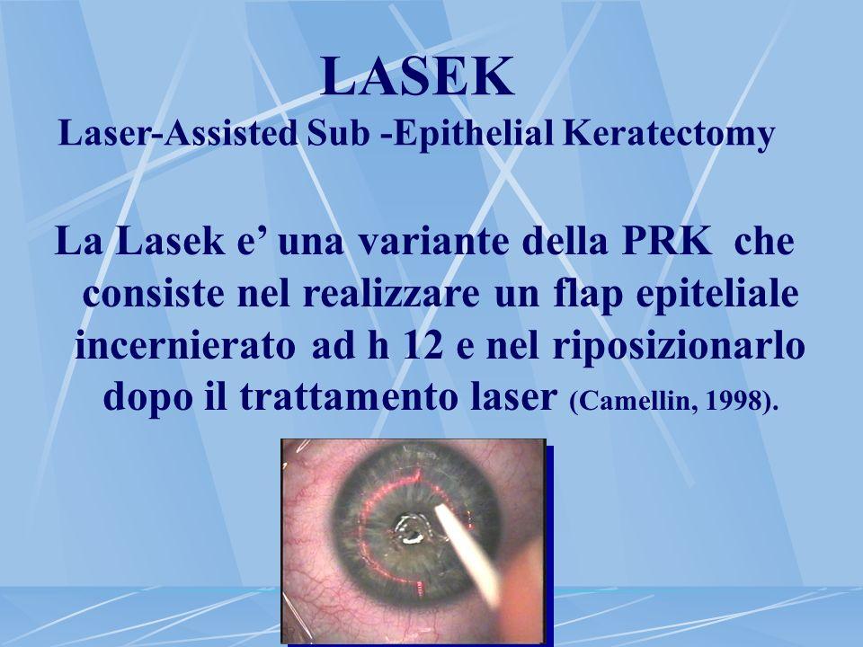 LASEK Laser-Assisted Sub -Epithelial Keratectomy La Lasek e una variante della PRK che consiste nel realizzare un flap epiteliale incernierato ad h 12