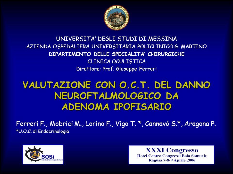 VALUTAZIONE CON O.C.T. DEL DANNO NEUROFTALMOLOGICO DA ADENOMA IPOFISARIO Ferreri F., Mobrici M., Lorino F., Vigo T. *, Cannavò S.*, Aragona P. *U.O.C.