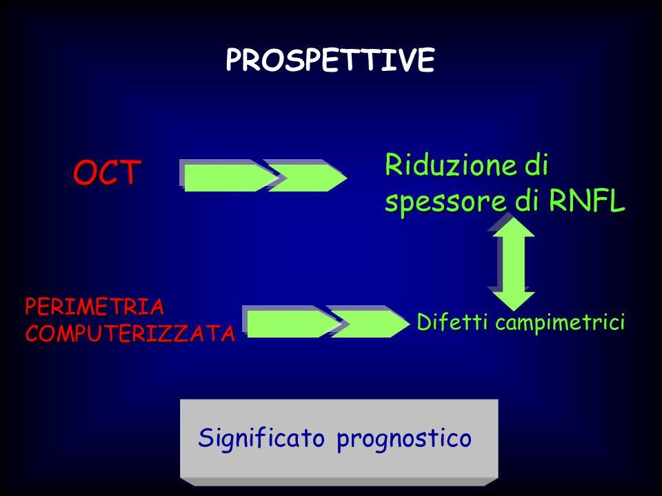 PROSPETTIVE Riduzione di spessore di RNFL OCT PERIMETRIACOMPUTERIZZATA Difetti campimetrici Significato prognostico