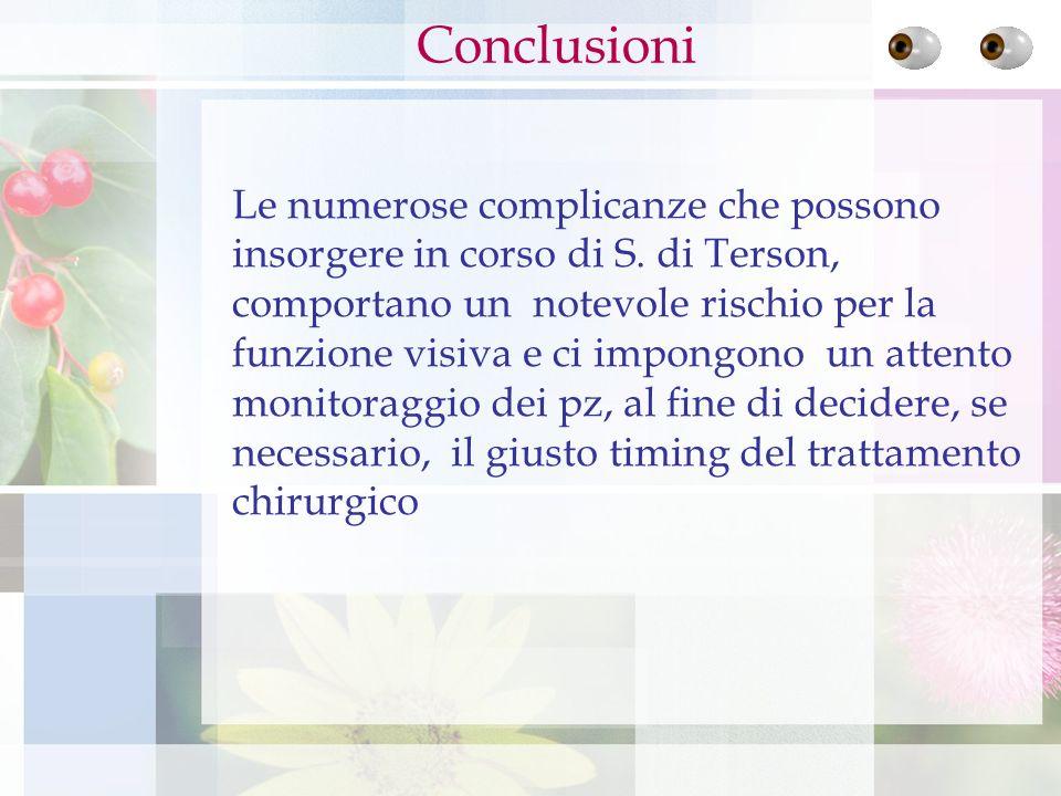 Le numerose complicanze che possono insorgere in corso di S. di Terson, comportano un notevole rischio per la funzione visiva e ci impongono un attent