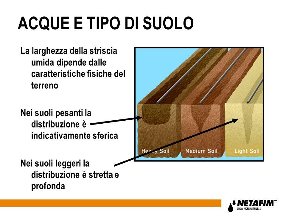 ACQUE E TIPO DI SUOLO La larghezza della striscia umida dipende dalle caratteristiche fisiche del terreno Nei suoli pesanti la distribuzione è indicat