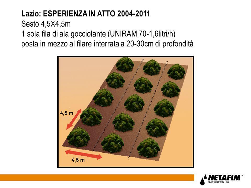 Lazio: ESPERIENZA IN ATTO 2004-2011 Sesto 4,5X4,5m 1 sola fila di ala gocciolante (UNIRAM 70-1,6litri/h) posta in mezzo al filare interrata a 20-30cm