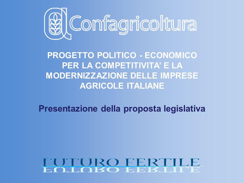 PROGETTO POLITICO - ECONOMICO PER LA COMPETITIVITA E LA MODERNIZZAZIONE DELLE IMPRESE AGRICOLE ITALIANE Presentazione della proposta legislativa