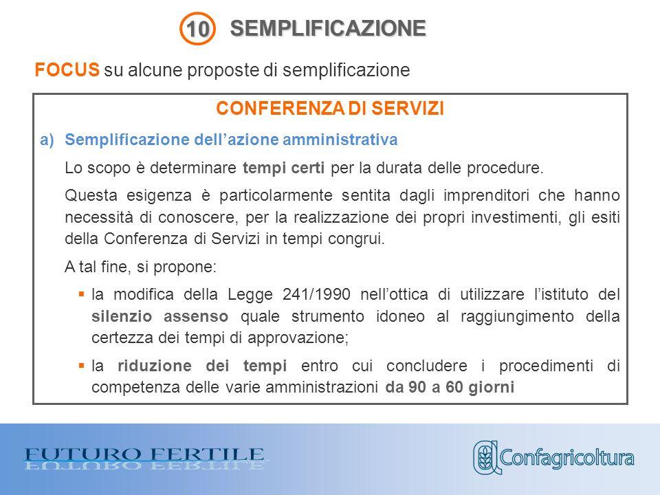 CONFERENZA DI SERVIZI a)Semplificazione dellazione amministrativa Lo scopo è determinare tempi certi per la durata delle procedure.