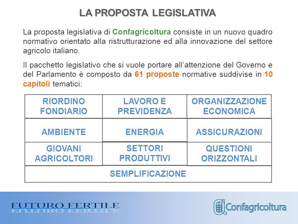 La proposta legislativa di Confagricoltura consiste in un nuovo quadro normativo orientato alla ristrutturazione ed alla innovazione del settore agricolo italiano.