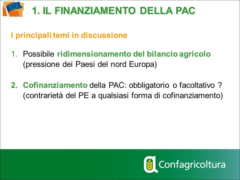 I principali temi in discussione 1.Possibile ridimensionamento del bilancio agricolo (pressione dei Paesi del nord Europa) 2.Cofinanziamento della PAC