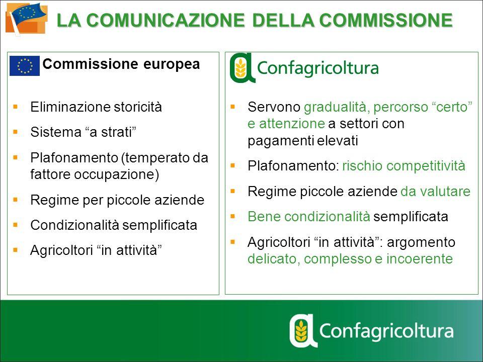 Commissione europea Eliminazione storicità Sistema a strati Plafonamento (temperato da fattore occupazione) Regime per piccole aziende Condizionalità