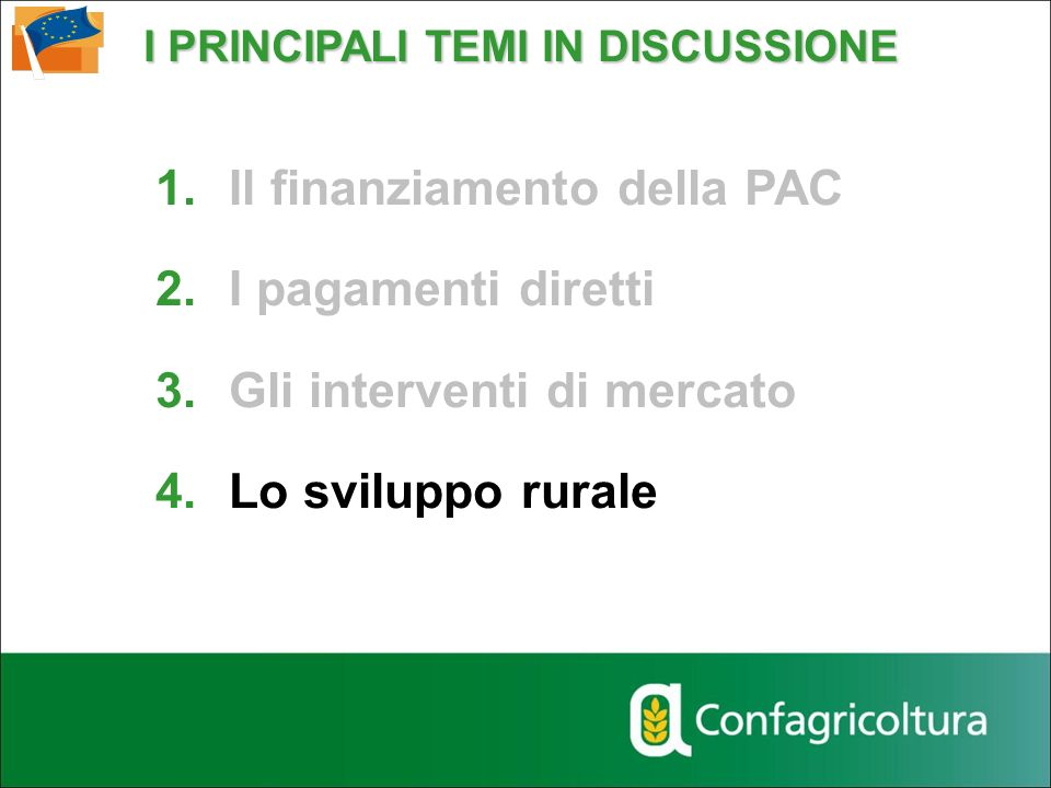 I PRINCIPALI TEMI IN DISCUSSIONE 1.Il finanziamento della PAC 2.I pagamenti diretti 3.Gli interventi di mercato 4.Lo sviluppo rurale