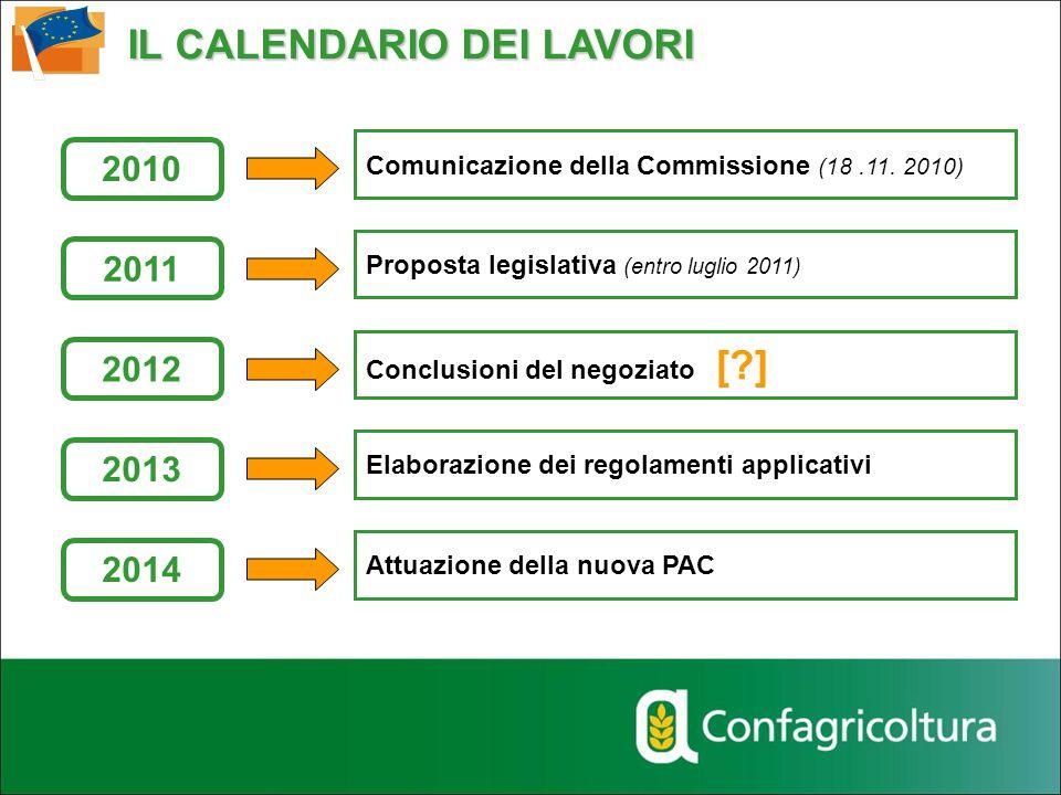 IL CALENDARIO DEI LAVORI Comunicazione della Commissione (18.11. 2010) Proposta legislativa (entro luglio 2011) Conclusioni del negoziato [?] Elaboraz