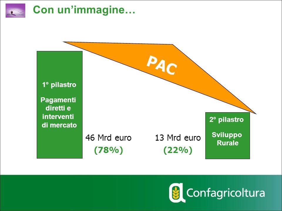 1° pilastro Pagamenti diretti e interventi di mercato 2° pilastro Sviluppo Rurale PAC 46 Mrd euro (78%) 13 Mrd euro (22%) Con unimmagine…