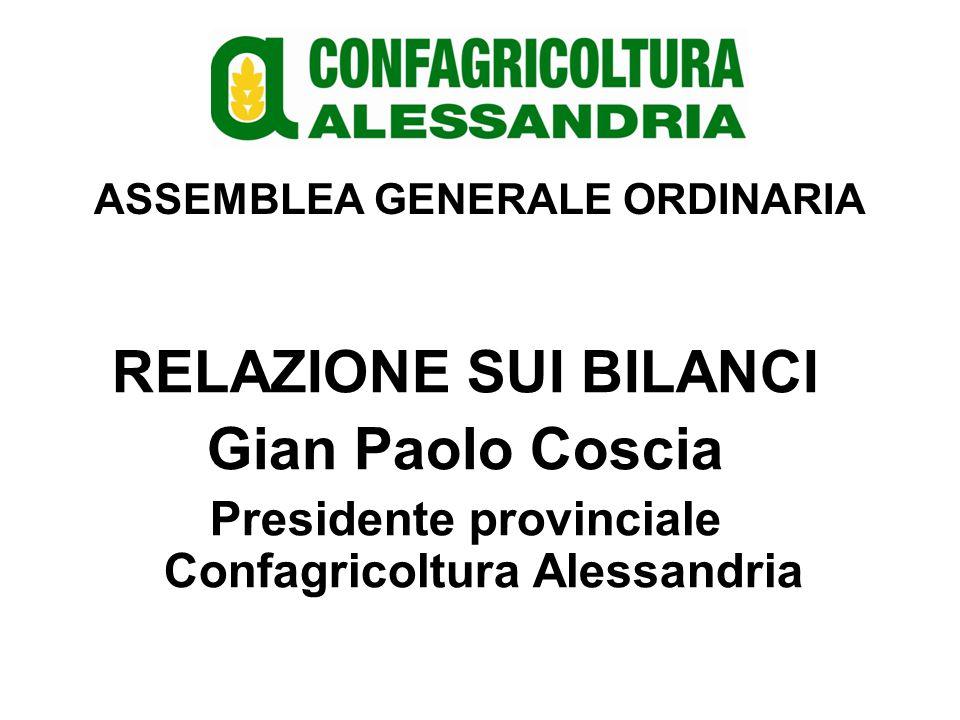 ASSEMBLEA GENERALE ORDINARIA RELAZIONE SU BILANCI Collegio sindacale Confagricoltura Alessandria
