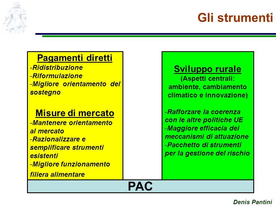 Denis Pantini Gli strumenti Pagamenti diretti -Ridistribuzione -Riformulazione -Migliore orientamento del sostegno Misure di mercato -Mantenere orientamento al mercato -Razionalizzare e semplificare strumenti esistenti -Migliore funzionamento filiera alimentare Sviluppo rurale (Aspetti centrali: ambiente, cambiamento climatico e innovazione) -Rafforzare la coerenza con le altre politiche UE -Maggiore efficacia dei meccanismi di attuazione -Pacchetto di strumenti per la gestione del rischio PAC
