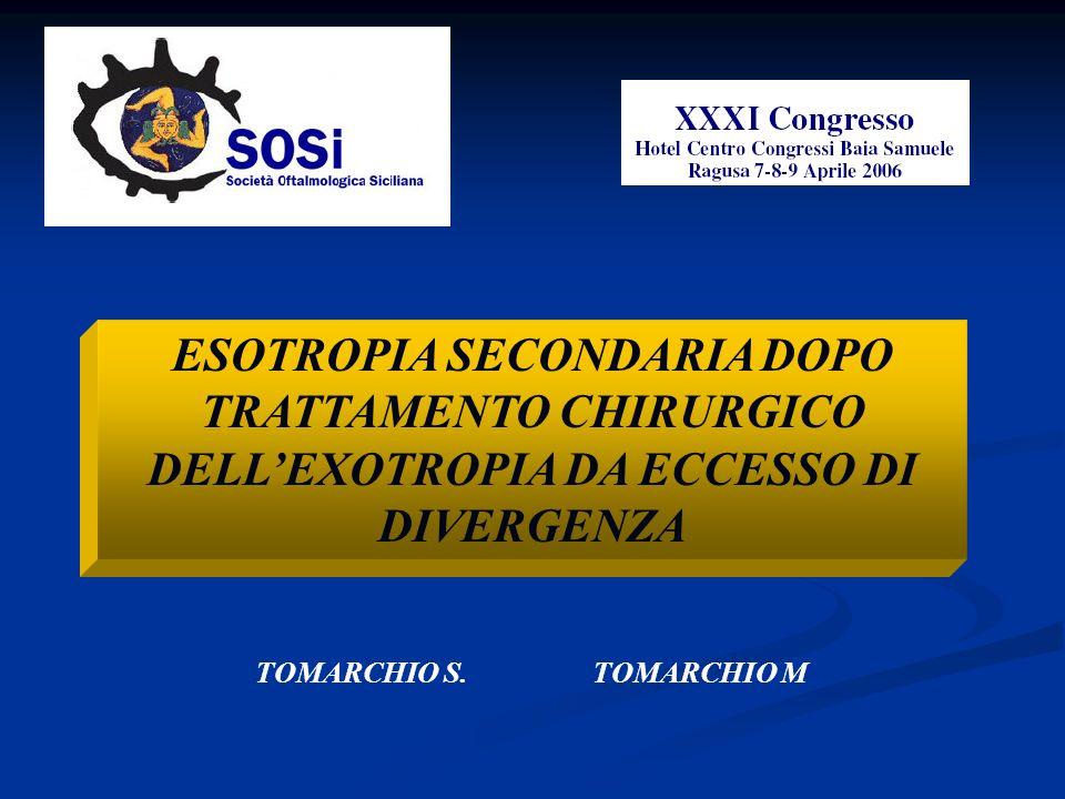 ESOTROPIA SECONDARIA DOPO TRATTAMENTO CHIRURGICO DELLEXOTROPIA DA ECCESSO DI DIVERGENZA TOMARCHIO S. TOMARCHIO M