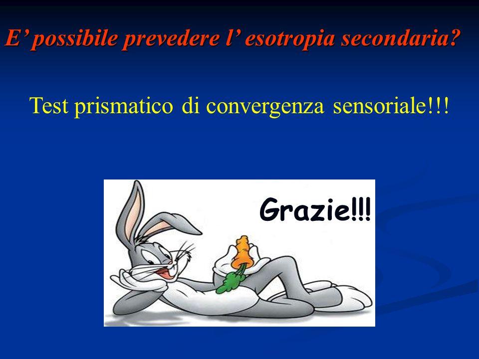 Test prismatico di convergenza sensoriale!!! E possibile prevedere l esotropia secondaria? Grazie!!!