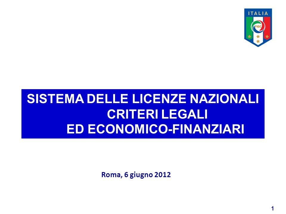 1 SISTEMA DELLE LICENZE NAZIONALI CRITERI LEGALI ED ECONOMICO-FINANZIARI Roma, 6 giugno 2012