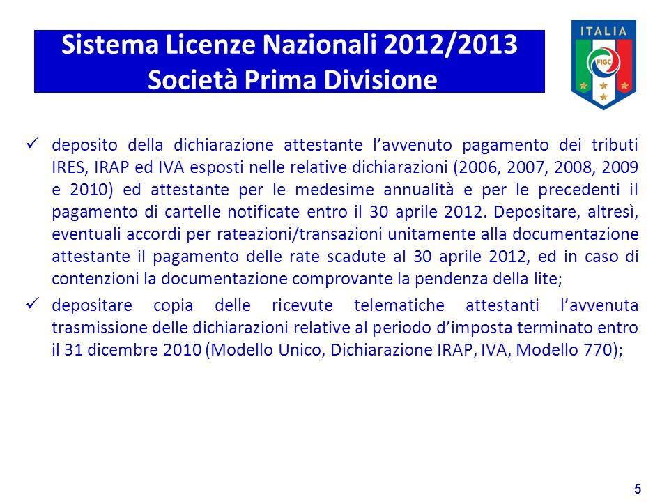 5 Sistema Licenze Nazionali 2012/2013 Società Prima Divisione deposito della dichiarazione attestante lavvenuto pagamento dei tributi IRES, IRAP ed IVA esposti nelle relative dichiarazioni (2006, 2007, 2008, 2009 e 2010) ed attestante per le medesime annualità e per le precedenti il pagamento di cartelle notificate entro il 30 aprile 2012.