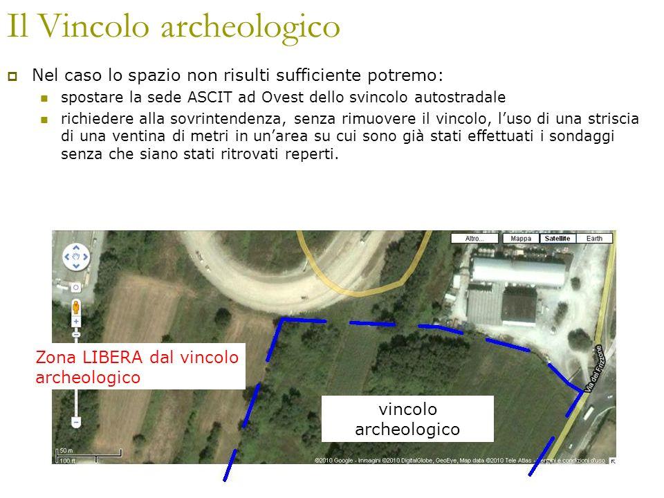 Il Vincolo archeologico Nel caso lo spazio non risulti sufficiente potremo: spostare la sede ASCIT ad Ovest dello svincolo autostradale richiedere all