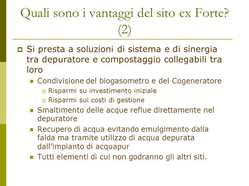 Quali sono i vantaggi del sito ex Forte? (2) Si presta a soluzioni di sistema e di sinergia tra depuratore e compostaggio collegabili tra loro Condivi