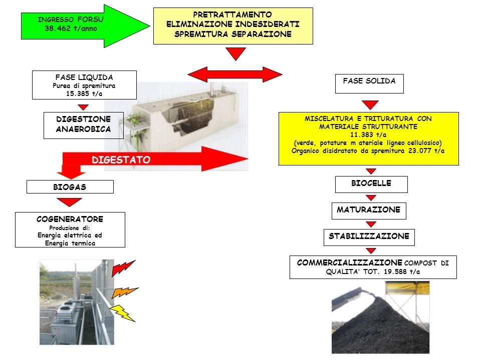 MISCELATURA E TRITURATURA CON MATERIALE STRUTTURANTE 11.383 t/a (verde, potature m ateriale ligneo cellulosico) Organico disidratato da spremitura 23.